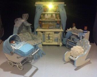 Dolls House Miniature Vintage Nursery Peter Rabbit Theme