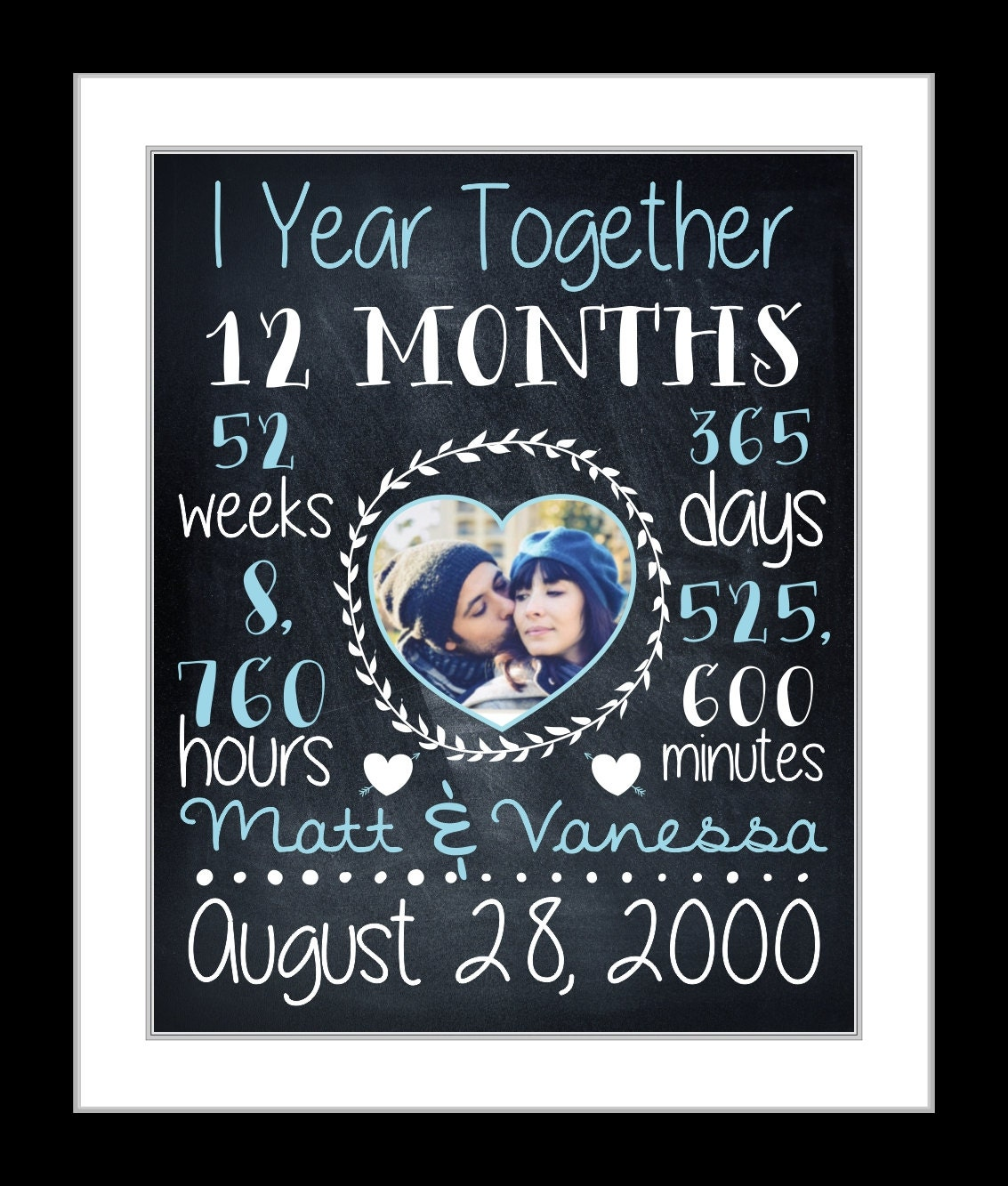 Anniversary gift for boyfriend girlfriend chalkboard art for Boyfriend gifts for anniversary