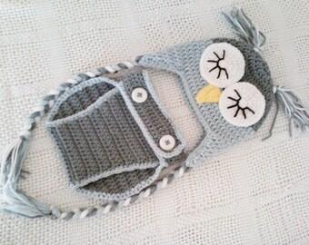 Baby Sleepy Owl Laplander Hat & Diaper Cover Set - 0 to 3 Months, 3 to 6 Months, 6 to 12 Months - Silver Blue, Silver Grey - Animal