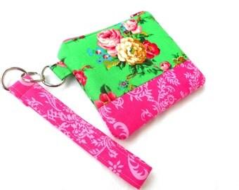 Sea Green Roses Wristlet Clutch - Pink Green Floral Zipper Pouch