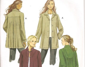 Uncut Butterick Pattern B5533 Ladies Loose fitting, Pleated Back Coat or Jacket Size 8-14