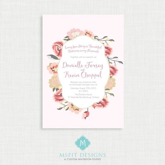 Floral and Vintage Wedding invitation- RSVP Card Included- Printable Invitation