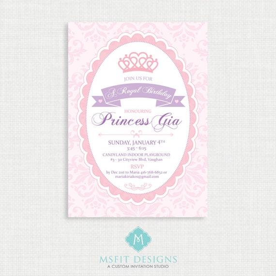 Princess Birthday Invitation- Princess Birthday Invitation, Princess Birthday Party Invitations, DIY,  Printable Template, Digital