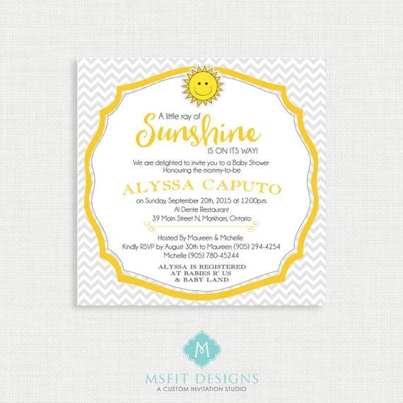 Printable Baby Shower Invitation-Chevron Baby Shower Invitation, Gender Neutral Baby Shower Invitation - Sunshine Invitation