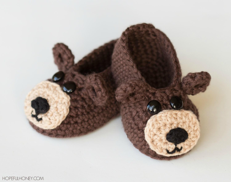 Crochet Baby Bear Booties Pattern : CROCHET PATTERN Teddy Bear Baby Booties
