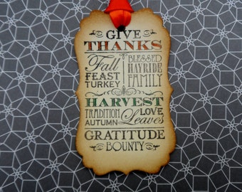 Thanksgiving Tags, Give Thanks, Gratitude tags, Gift Tags, Favor tags, Fall tags