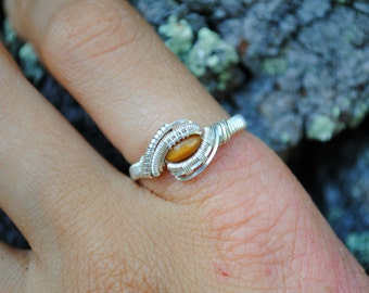 Tigers Eye Wire Wrapped Ring