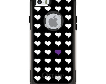 OtterBox Commuter for Apple iPhone 5S SE 5C 6 6S 7 8 PLUS X 10 - Custom Monogram - Any Colors - Purple White Black Repeating Hearts