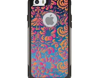OtterBox Commuter for Apple iPhone 5S SE 5C 6 6S 7 8 PLUS X 10 - Custom Monogram - Any Colors - Pink Orange Blue Flower Floral