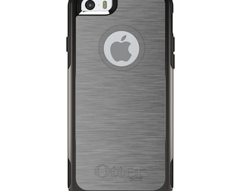OtterBox Commuter for Apple iPhone 5S SE 5C 6 6S 7 8 PLUS X 10 - Custom Monogram - Any Colors - Grey Silver Stainless Steel Print