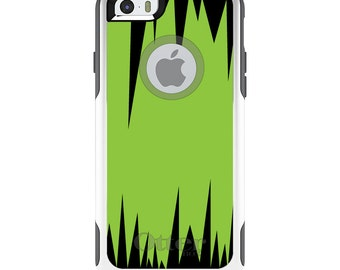 OtterBox Commuter for Apple iPhone 5S SE 5C 6 6S 7 8 PLUS X 10 - Custom Monogram - Any Colors - Lime Green Black Spikes