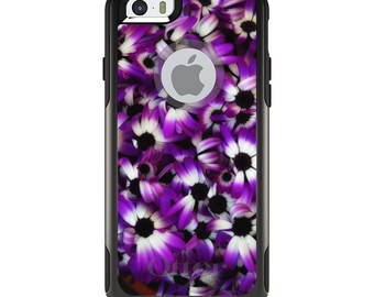 OtterBox Commuter for Apple iPhone 5S SE 5C 6 6S 7 8 PLUS X 10 - Custom Monogram - Any Colors - Purple White Black Flowers