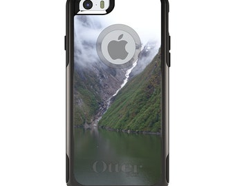 OtterBox Commuter for Apple iPhone 5S SE 5C 6 6S 7 8 PLUS X 10 - Custom Monogram - Any Colors - Tracy Arm Fjord Waterfall