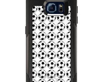 OtterBox Commuter for Galaxy S4 / S5 / S6 / S7 / S8 / S8+ / Note 4 5 8 - CUSTOM Monogram - Any Colors - Soccer Balls Drawing