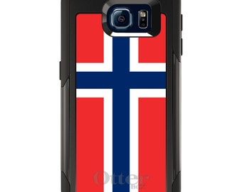 OtterBox Commuter for Galaxy S4 / S5 / S6 / S7 / S8 / S8+ / Note 4 5 8 - CUSTOM Monogram - Any Colors - Norway Flag