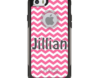 OtterBox Commuter for Apple iPhone 5S SE 5C 6 6S 7 8 PLUS X 10 - Custom Monogram or Image - Pink Chevron Grey Name