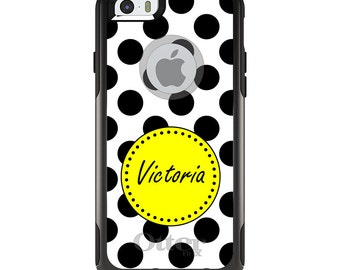 OtterBox Commuter for Apple iPhone 5S SE 5C 6 6S 7 8 PLUS X 10 - Custom Monogram or Image - Black White Yellow Polka Dots