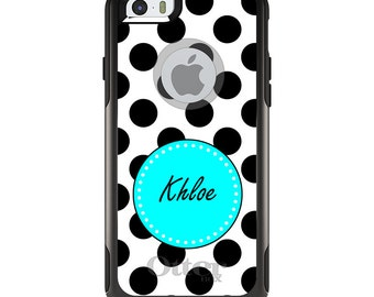OtterBox Commuter for Apple iPhone 5S SE 5C 6 6S 7 8 PLUS X 10 - Custom Monogram or Image - Black White Blue Polka Dots