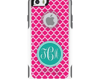 OtterBox Commuter for Apple iPhone 5S SE 5C 6 6S 7 8 PLUS X 10 - Custom Monogram or Image - Pink White Teal Moroccan Lattice