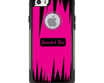 OtterBox Commuter for Apple iPhone 5S SE 5C 6 6S 7 8 PLUS X 10 - Custom Monogram or Image - Neon Pink Black Spikes Zig Zag