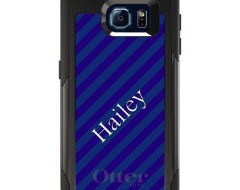 OtterBox Commuter for Galaxy S4 / S5 / S6 / S7 / S8 / S8+ / Note 4 5 8 - CUSTOM Monogram Name Initials - Purple Teal Stripes Name