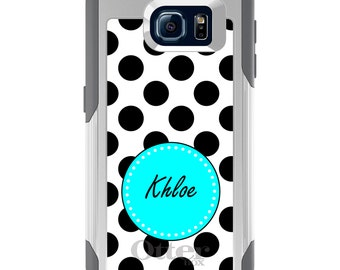 OtterBox Commuter for Galaxy S4 / S5 / S6 / S7 / S8 / S8+ / Note 4 5 8 - CUSTOM Monogram Name Initials - Black White Blue Polka Dots