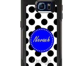 OtterBox Commuter for Galaxy S4 / S5 / S6 / S7 / S8 / S8+ / Note 4 5 8 - CUSTOM Monogram Name Initials - White Royal Blue Polka Dots