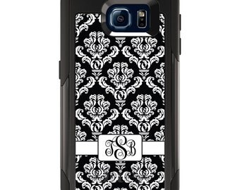 OtterBox Commuter for Galaxy S4 / S5 / S6 / S7 / S8 / S8+ / Note 4 5 8 - CUSTOM Monogram Name Initials - Black White Damask Ribbon