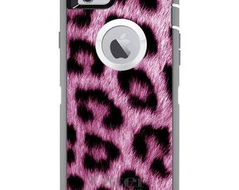 CUSTOM OtterBox Defender Case for Apple iPhone 6 6S 7 8 PLUS X 10 - Personalized Monogram - Pink Black Leopard Fur Skin