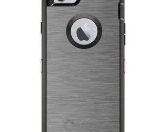 Stainless Steel OtterBox Defender / Apple iPhone OR Samsung Galaxy / Silver Grey / Custom Personalized Monogrammed / Any Color / Any Font