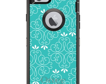CUSTOM OtterBox Defender Case for Apple iPhone 6 6S 7 8 PLUS X 10 - Personalized Monogram - Teal White Floral
