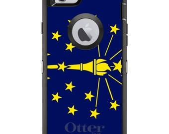 CUSTOM OtterBox Defender Case for Apple iPhone 6 6S 7 8 PLUS X 10 - Personalized Monogram - Indiana State Flag