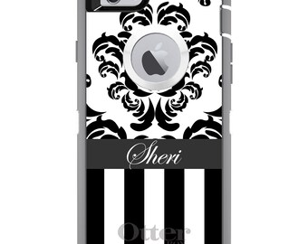 CUSTOM OtterBox Defender Case for Apple iPhone 6 6S 7 8 PLUS X 10 - Personalized Monogram - Black White Damask Stripes