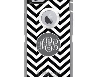 CUSTOM OtterBox Defender Case for Apple iPhone 6 6S 7 8 PLUS X 10 - Personalized Monogram - Black White Grey Chevron Circle
