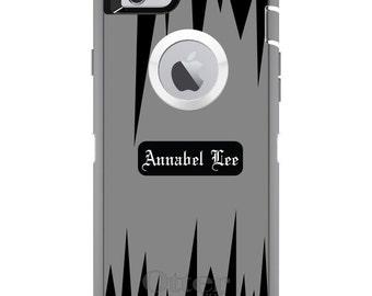 CUSTOM OtterBox Defender Case for Apple iPhone 6 6S 7 8 PLUS X 10 - Personalized Monogram - Grey Black Spikes Zig Zag