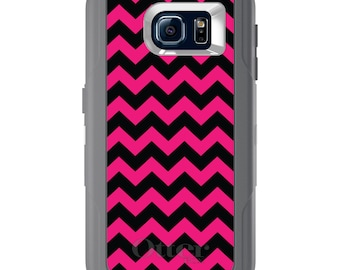 Custom OtterBox Defender for Galaxy S5 S6 S7 S8 S8+ Note 5 8 Any Color / Font - Black Hot Pink Chevron Stripes
