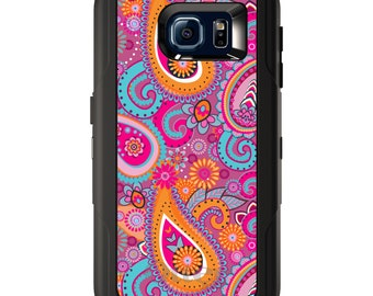 Custom OtterBox Defender for Galaxy S5 S6 S7 S8 S8+ Note 5 8 Any Color / Font - Pink Blue Orange Paisley