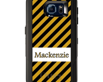 Custom OtterBox Defender for Galaxy S5 S6 S7 S8 S8+ Note 5 8 Any Color / Font - Black Yellow Stripes Name