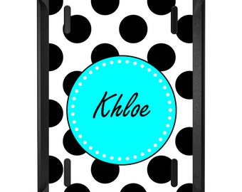 Custom OtterBox Defender for Apple iPad 2 3 4 / Air 1 2 / Mini 1 2 3 4 - CUSTOM Monogram - Black White Blue Polka Dots