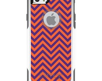 OtterBox Commuter for Apple iPhone 5S SE 5C 6 6S 7 8 PLUS X 10 - Custom Monogram - Clemson University Tigers Colors - Chevron Pattern