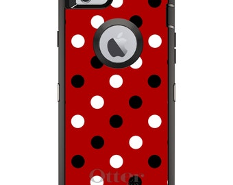 Custom OtterBox Defender Case for Apple iPhone 6 6S 7 8 PLUS X 10 - Monogram - University of Louisville UL Cardinals Colors Polka Dot