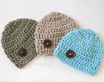 Cotton Baby Boy Hat, Crochet Baby Boy Hat, Cotton Baby Hat, Newborn Cotton Hat, Blue Cotton Baby Hat, Beige Cotton Baby Hat, Olive Green Hat