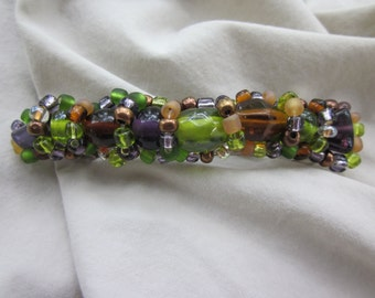 Handmade Beaded Barrette Purple Green Amber Bronze Free Shipping