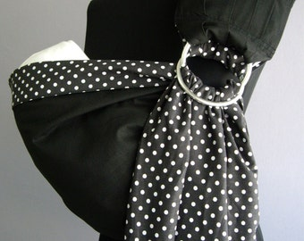 Baby Sling Ring/ Black Baby sling/Baby carrier sling/Reversible Baby ring Sling/Baby Wrap/Polka dot