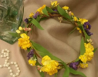 Yellow and Purple  Wildflower Crown