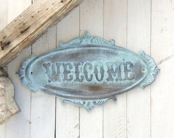 Iron Welcome Sign, Cast Iron, Aqua Mist, Home Decor, Garden Sign, Rustic Home Decor, Blue, Distressed