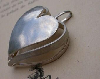 French vintage Huge sterling silver heart pendant  carved heavy silver heart pendant