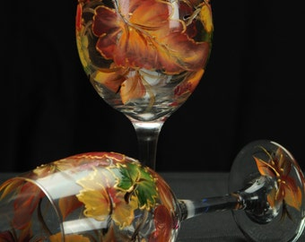 Hand Painted Large Wine Glass / Colorful Fall Leaves On Clear Glass
