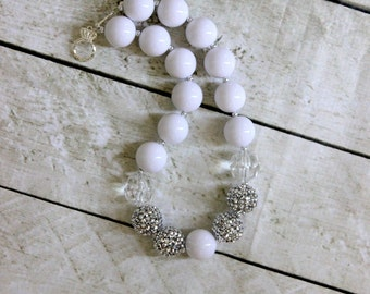 white chunky bubblegum bead necklace white and silver vinatge chunky bead necklace white chunky bubblegum necklace bubble gum photo prop