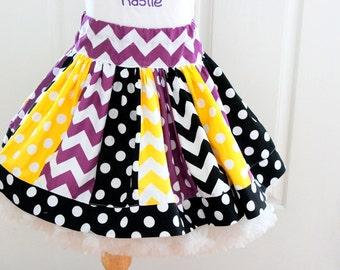 skirt for girls purple yellow gold black skirt pirate birthday girl outfit Baltimore Ravens chevron polkadot black yellow and purple skirt